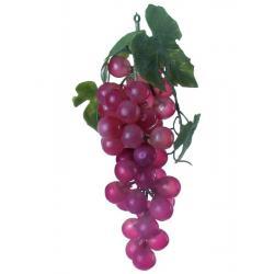 Umělý hrozen vína s listy, 48 bobulí, k zavěšení, červený