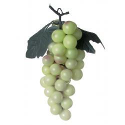 Umělý hrozen vína s listy, 48 bobulí, k zavěšení, zelený