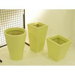 Laminátový okrasný květináč / obal, žlutý, čtvercový, výška 45 cm