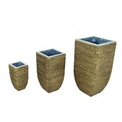 Designový květináč / ozdobný obal, opletený přírodním materiálem, výška 60 cm