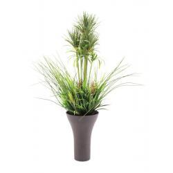 Umělá okrasná tráva v dekorativním květináči, zelená, 90 cm